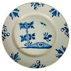 Small Blue and White Hand-Painted Delft Plate Made, circa 1740