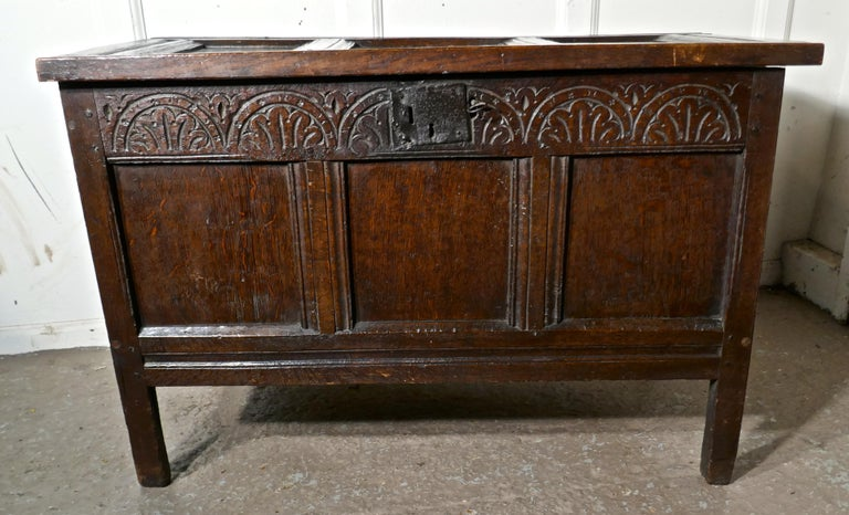 Gothic Small Early 17th Century Carved Oak Coffer, 1621 For Sale