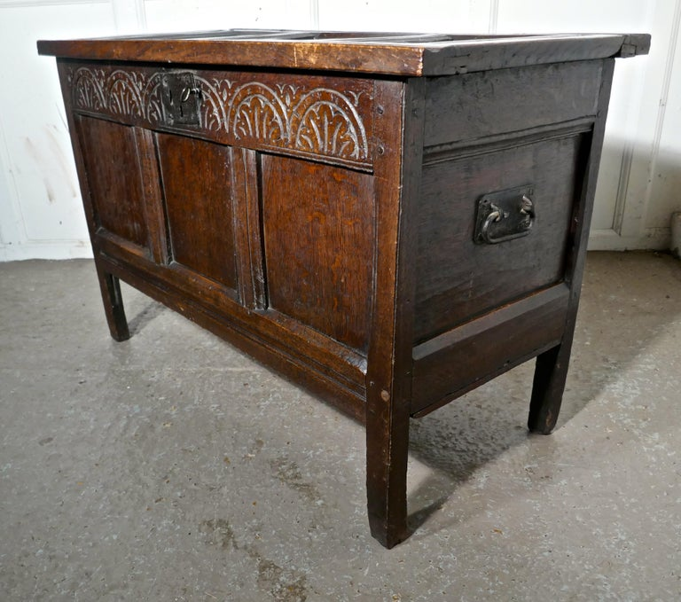 Small Early 17th Century Carved Oak Coffer, 1621 In Good Condition For Sale In Chillerton, Isle of Wight