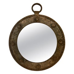 Small French 1950s Round Mirror