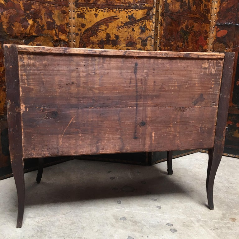 18th Century Small French Louis XV Marquetry Commode with Marble Top For Sale 11