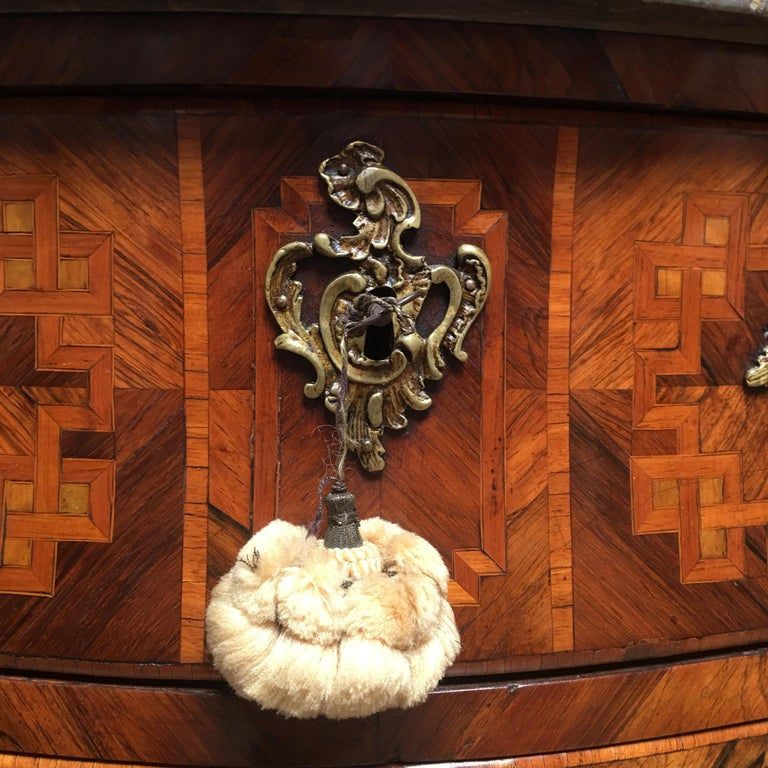 18th Century Small French Louis XV Marquetry Commode with Marble Top In Good Condition For Sale In Dallas, TX