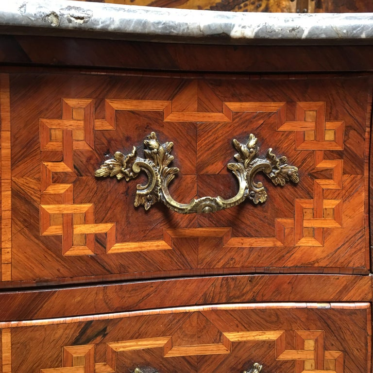 18th Century Small French Louis XV Marquetry Commode with Marble Top For Sale 1
