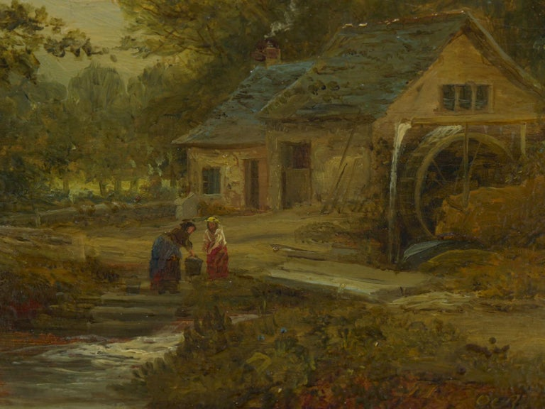 """A Small Mill"" Antique Landscape Painting by Mark Dockree 'English' For Sale 4"