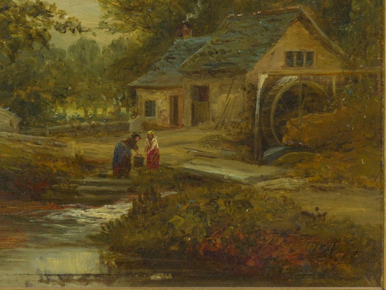 """A Small Mill"" Antique Landscape Painting by Mark Dockree 'English' In Good Condition For Sale In Shippensburg, PA"