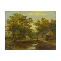 """""""A Small Mill"""" Antique Landscape Painting by Mark Dockree 'English'"""
