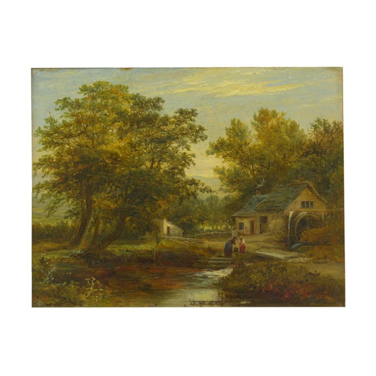 """A Small Mill"" Antique Landscape Painting by Mark Dockree 'English' For Sale"