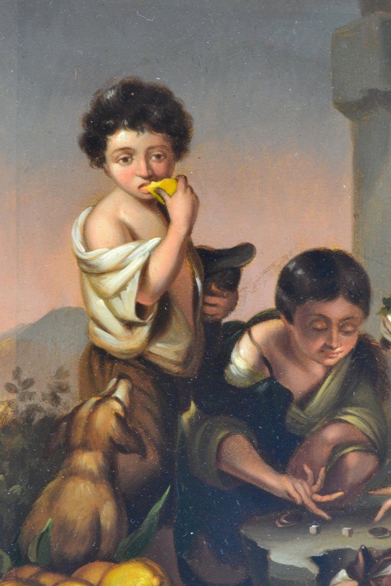 """Baroque Small Painting Titled """"Boys Playing Dice"""" after Bartolomé Esteban Murillo For Sale"""