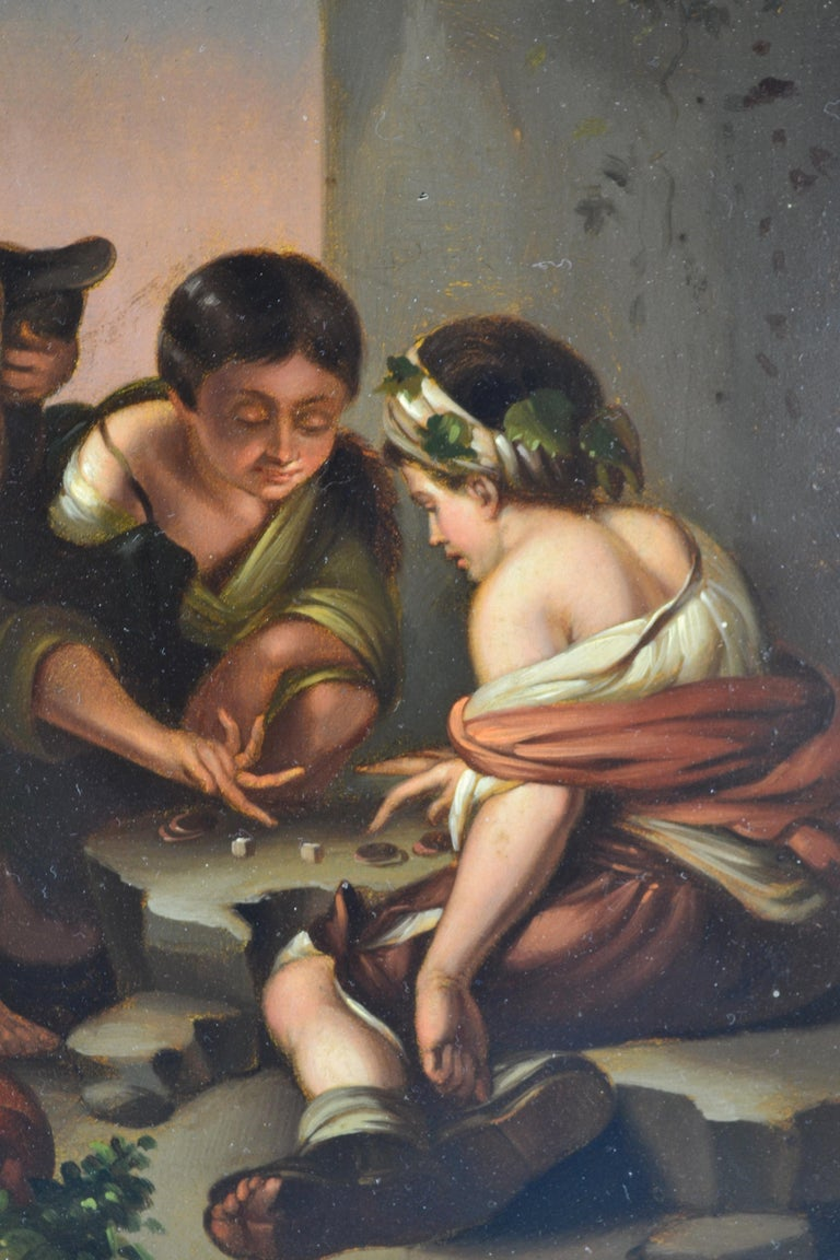 """Small Painting Titled """"Boys Playing Dice"""" after Bartolomé Esteban Murillo In Good Condition For Sale In Vancouver, British Columbia"""