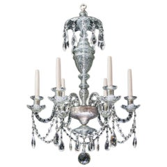 Small Six Light Cut Glass Chandelier in Adam Style