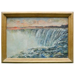 Small Unsigned 19th Century Painting of Niagara Falls
