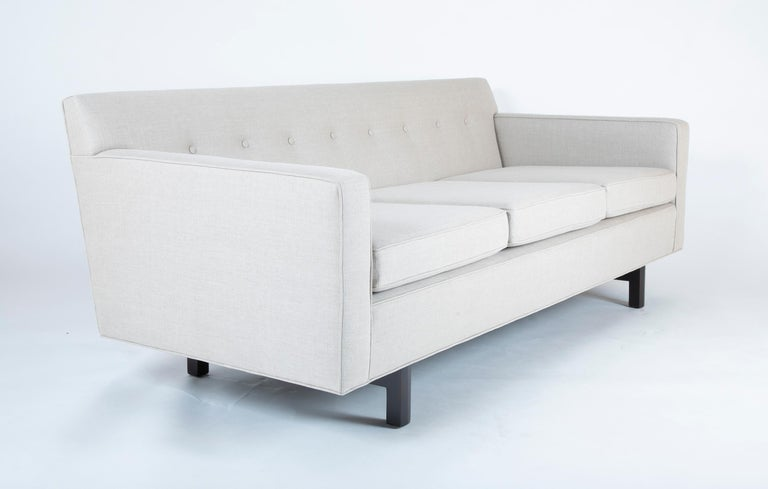 A newly upholstered sofa made by Dunbar and designed by Edward Wormley, circa 1965.