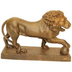 Solid Cat Iron George III Lion Door Stop