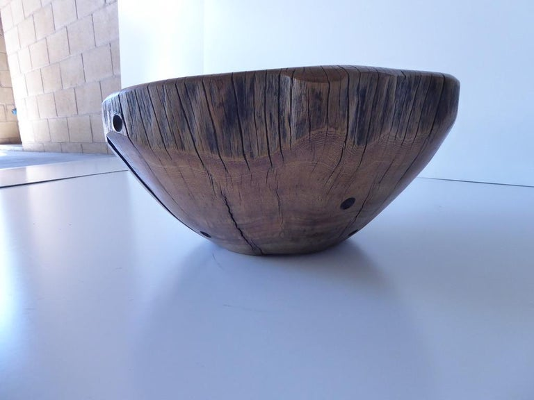 Solid Ficus Wood Sculpted Bowl by Contemporary Artist Daniel Pollock CA-4 Bowl For Sale 3