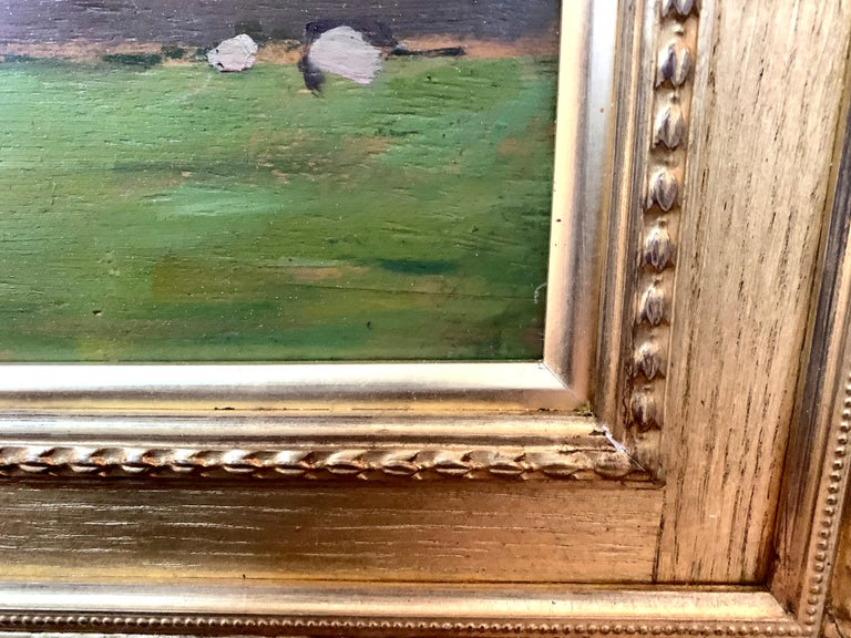 English oil Impressionist landscape with sheep in a field. Early 20th century For Sale 6