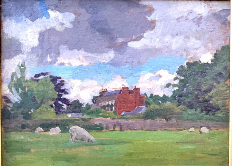 English oil Impressionist landscape with sheep in a field. Early 20th century - Painting by A. Solomon