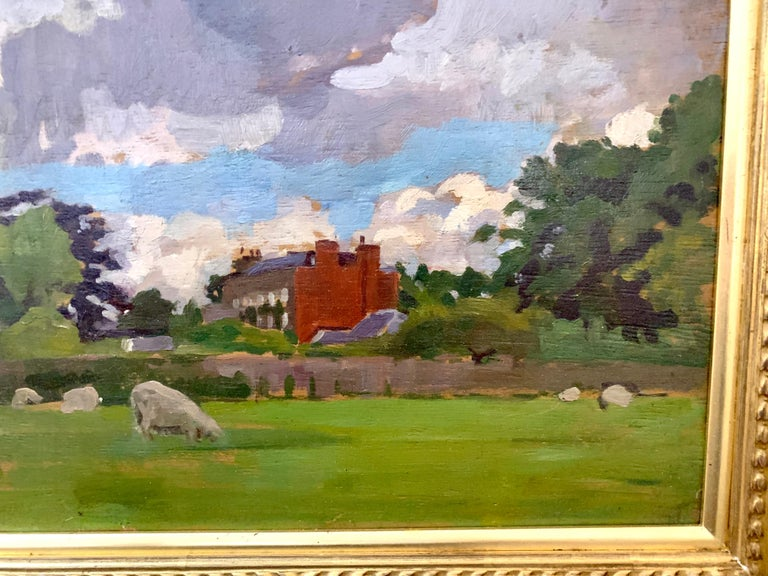 English oil Impressionist landscape with sheep in a field. Early 20th century - Brown Landscape Painting by A. Solomon