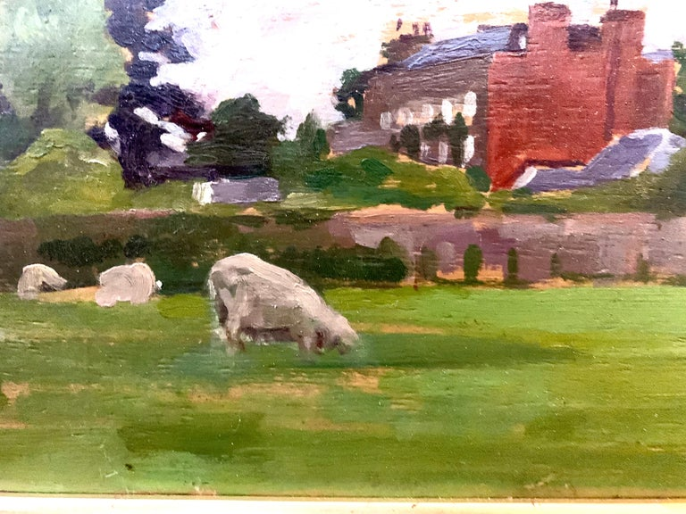 English Impressionist landscape with sheep in a field by a Victorian house with a blustery sky.  Solomon was an early 20th-century painter of landscape and town scenes from the first part of the 20th century. Solomon was a classic English
