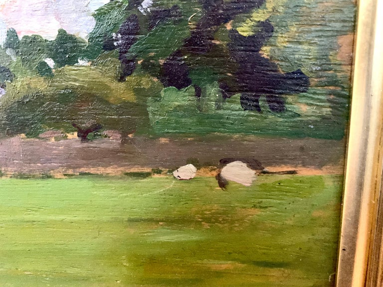 English oil Impressionist landscape with sheep in a field. Early 20th century For Sale 5
