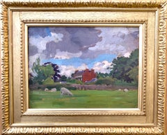 English oil Impressionist landscape with sheep in a field. Early 20th century