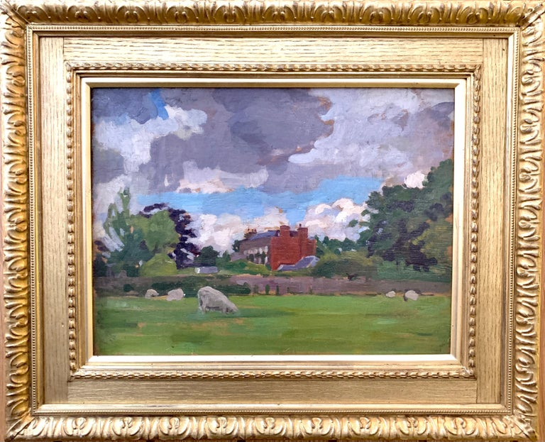 A. Solomon Landscape Painting - English oil Impressionist landscape with sheep in a field. Early 20th century