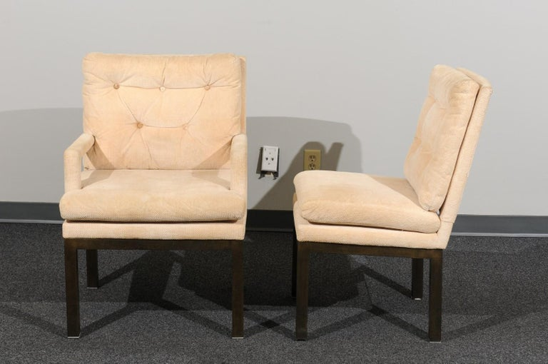 Sophisticated Set of 10 Brass Parsons Dining Chairs by John Stuart, circa 1968 For Sale 4