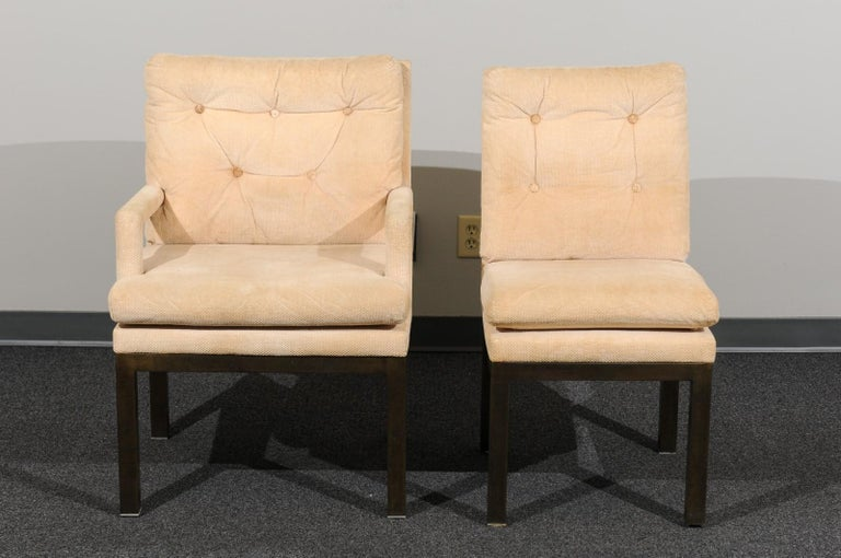 Sophisticated Set of 10 Brass Parsons Dining Chairs by John Stuart, circa 1968 For Sale 6