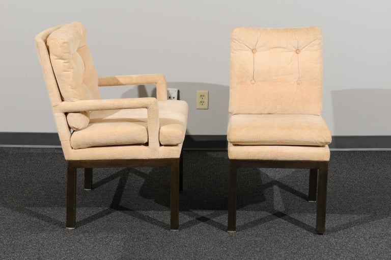 Mid-Century Modern Sophisticated Set of 10 Brass Parsons Dining Chairs by John Stuart, circa 1968 For Sale