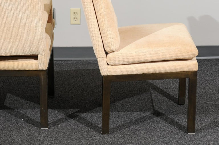 Mid-20th Century Sophisticated Set of 10 Brass Parsons Dining Chairs by John Stuart, circa 1968 For Sale