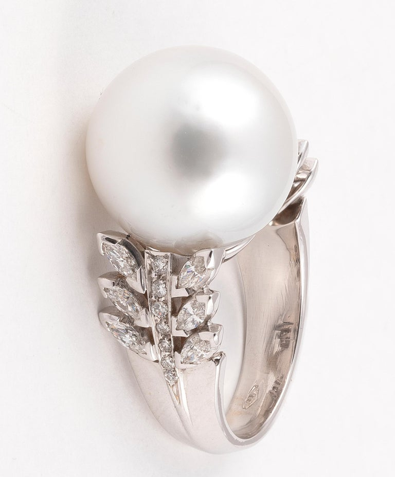 Brilliant Cut South Sea Cultured Pearl, Diamond and White Gold Ring For Sale
