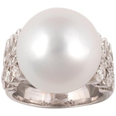 South Sea Cultured Pearl, Diamond and White Gold Ring