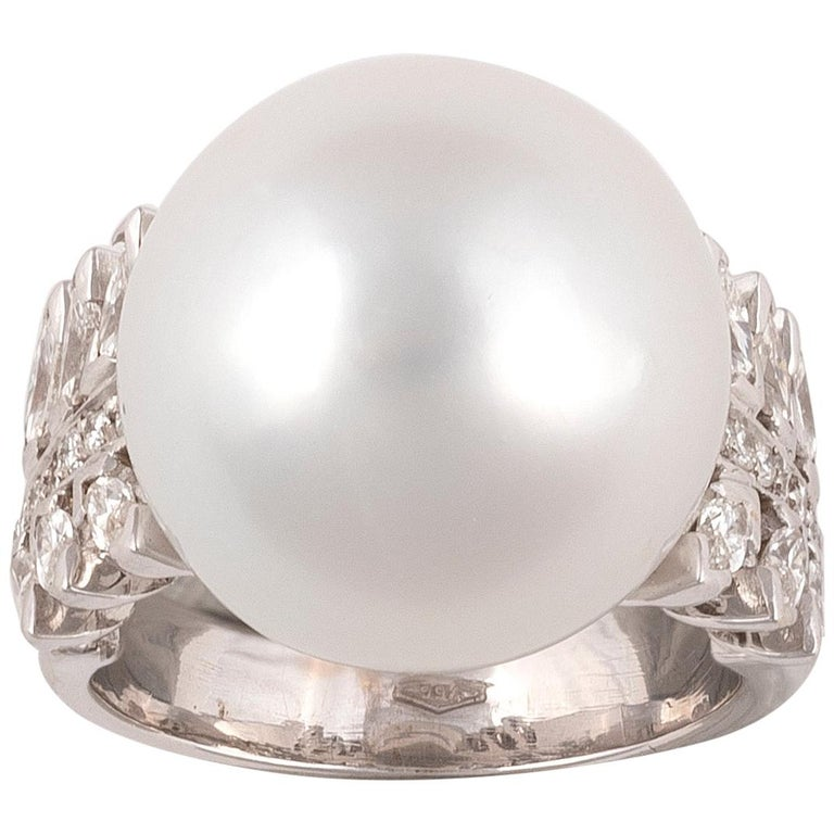 South Sea Cultured Pearl, Diamond and White Gold Ring For Sale