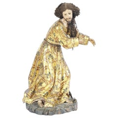 Spanish 18th Century Giltwood and Polychrome Decorated Figure of a Saint