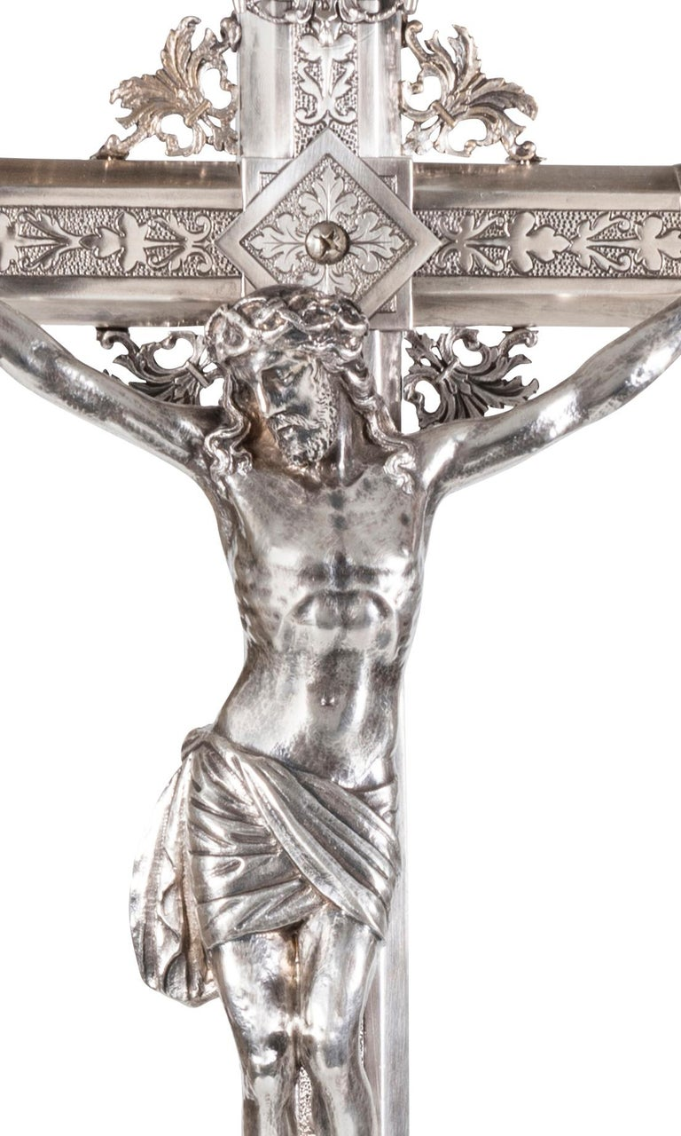 Renaissance A Spanish 19th Century Silver Plated Crucifix For Sale