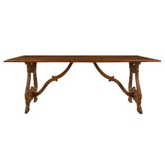 Spanish Early 18th Century Solid Walnut Trestle Table
