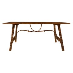 Spanish Mid-19th Century Country Dining/Center Table in Dark Patinated Oak