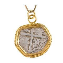 Spanish Silver Cob Coin circa 1500s Set in Rope Accented 22 Karat Gold Bezel