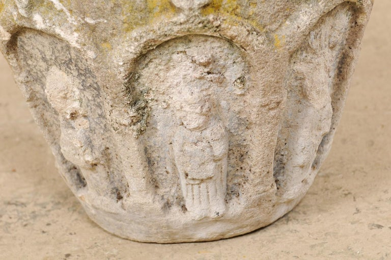 Spanish Stone Planter Adorned with Figures and Archways, Early 20th Century For Sale 6