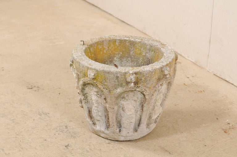 Spanish Stone Planter Adorned with Figures and Archways, Early 20th Century In Good Condition For Sale In Atlanta, GA