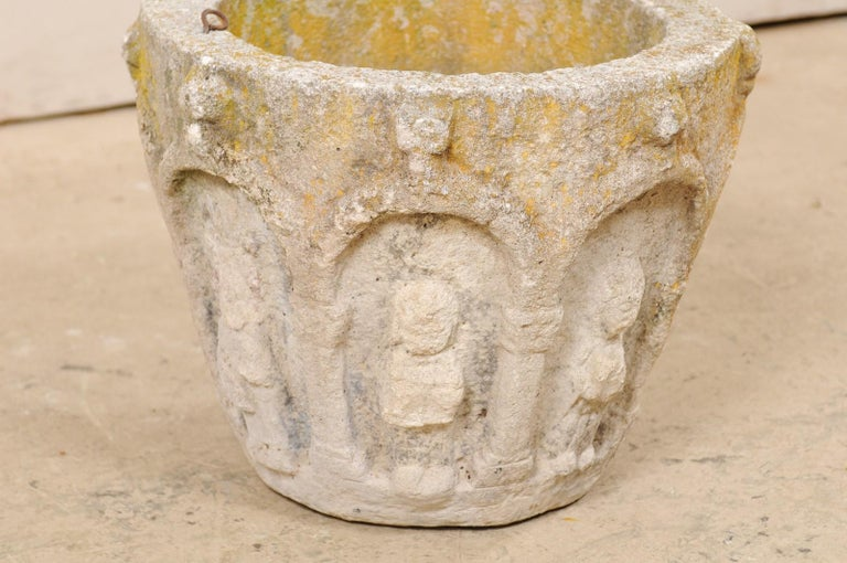 Spanish Stone Planter Adorned with Figures and Archways, Early 20th Century For Sale 5