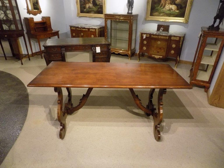 Spanish Style Walnut Antique Refectory Dining Table For