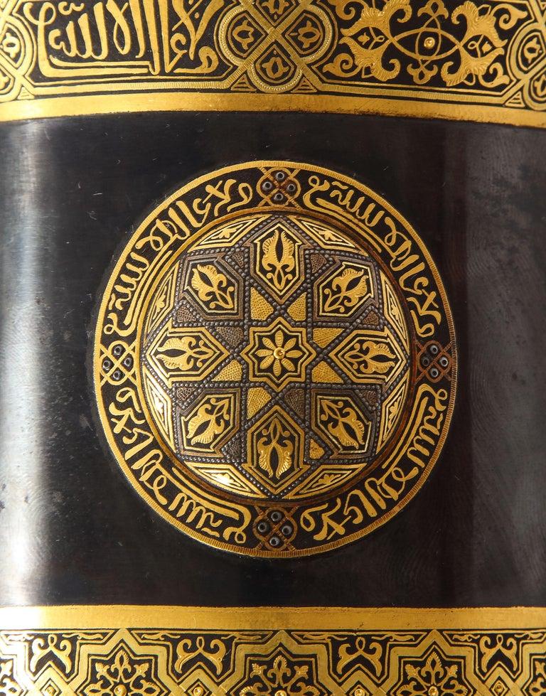 Spanish Toledo Gold and Platinum Inlaid Damascene Iron Covered Box Centerpiece For Sale 4