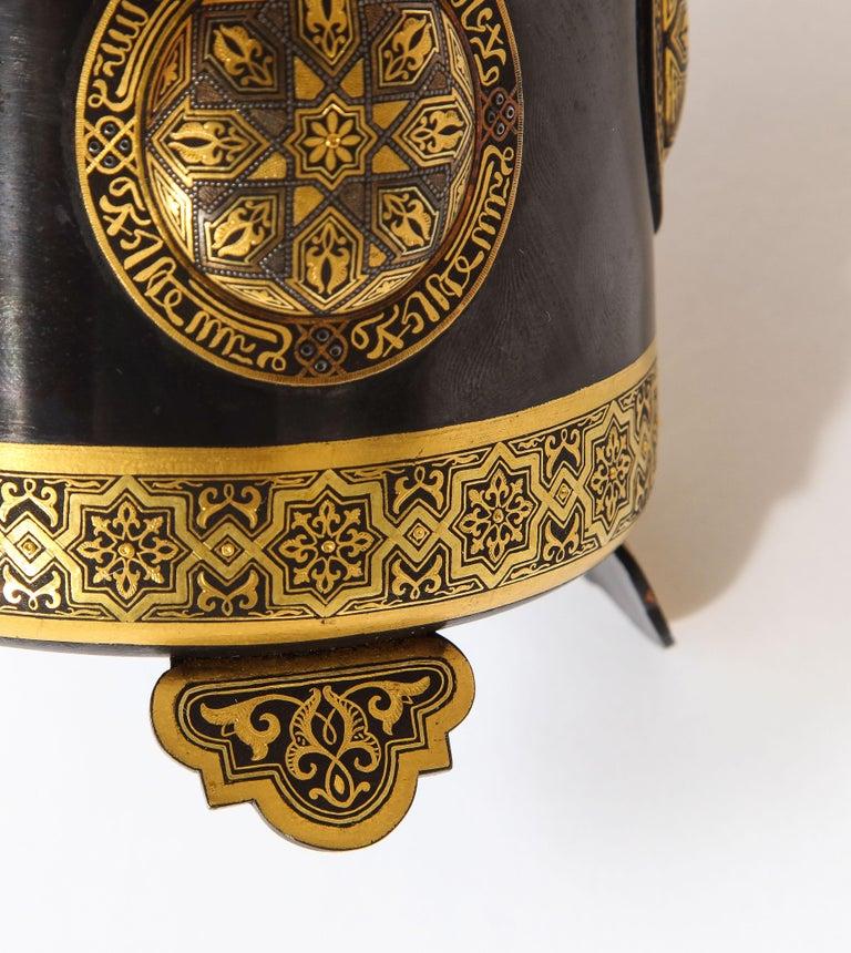 Spanish Toledo Gold and Platinum Inlaid Damascene Iron Covered Box Centerpiece For Sale 5