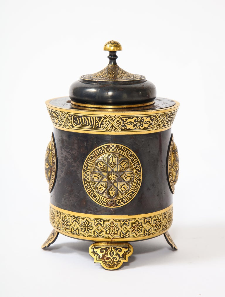Inlay Spanish Toledo Gold and Platinum Inlaid Damascene Iron Covered Box Centerpiece For Sale