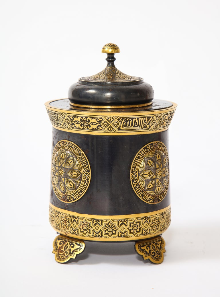 Late 19th Century Spanish Toledo Gold and Platinum Inlaid Damascene Iron Covered Box Centerpiece For Sale