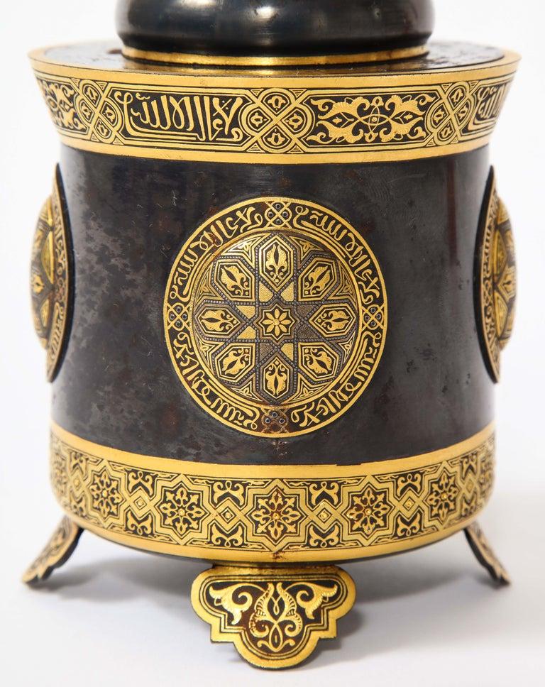 Spanish Toledo Gold and Platinum Inlaid Damascene Iron Covered Box Centerpiece For Sale 2