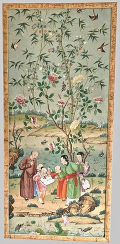 A Spectacular Set of 4 Antique Chinese Export Hand-Painted Wallpaper Panels