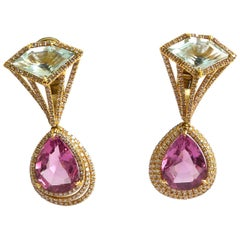 Spinel, Aquamarine and Diamond Earring Mounted in 18 Karat Rose Gold