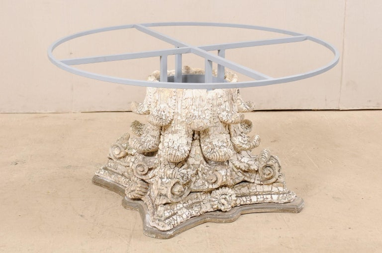 Splendid Custom Pedestal Table with Zinc Top and Early 20th Century Capital Base For Sale 6