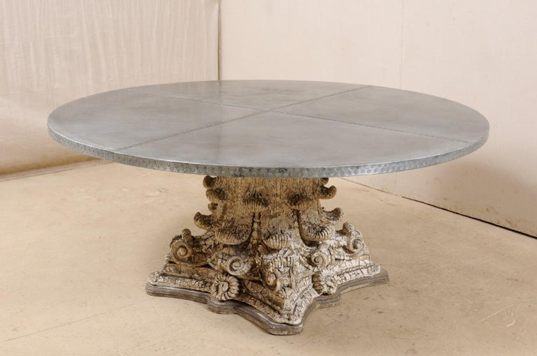 American Splendid Custom Pedestal Table with Zinc Top and Early 20th Century Capital Base For Sale
